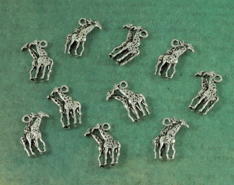 Silver Pair of Giraffes Charm - 3 dimensional - Package of 10
