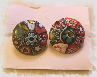 VINTAGE MURANO MILLEFIORI Glass Earrings - Made in Italy