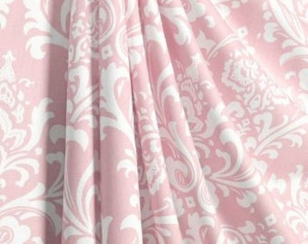 Pink damask curtains, Window treatments