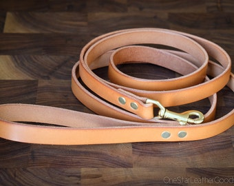 "Dog Leash, 3/4"" wide for bigger dogs, leather dog lead, bridle leather dog leash - tan"