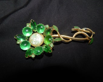 Vintage Glass and mother of pearl in resin flower Brooch