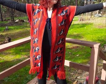 Bird Weave 70's Poncho Cardigan