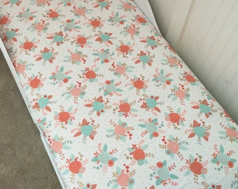 Crib Fitted Sheet Toddler Sheet Mint Blush Floral