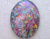 Large 31x42mm Fused Dichroic Glass Cabochons - Copper/Teal/Blue Special Color - TR697