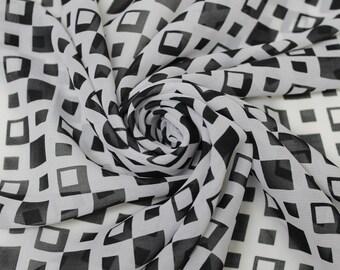 Black and White Asymmetrical Square Chiffon Fabric Style 8060