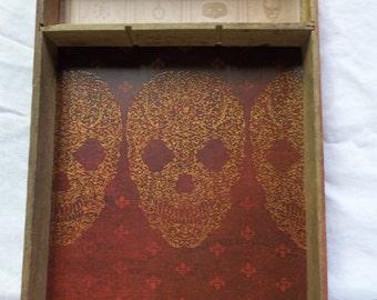 Vintage Wood Drawer Divider Upcycled with Skull Paper Liner, T
