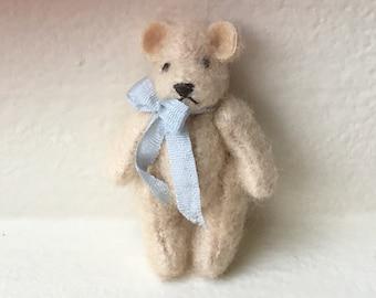 Miniature Tan Bear with Blue Bow  (JL)
