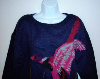 Vintage J H Collectibles Navy Blue Mallard Duck Pattern Wool Sweater Large