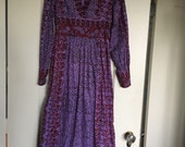 Vintage boho ethnic block print Indian cotton maxi dress purple tunic caftan India Imports of Rhode Island