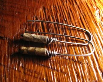 Picture Jasper Sterling Silver Earrings Handmade/Hand Forged  Dangle Earrings