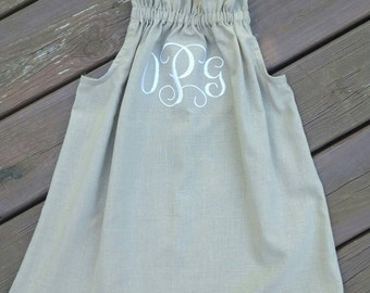 Pillow case dress with monogram/ Beige Girls Dress