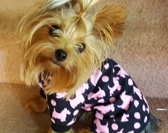 Dog Pajamas,  Black with Pink Puppy Print