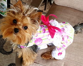 Dog Overalls, Dog Clothing, Dog Pants, Pet Clothing, Summer Strawberries