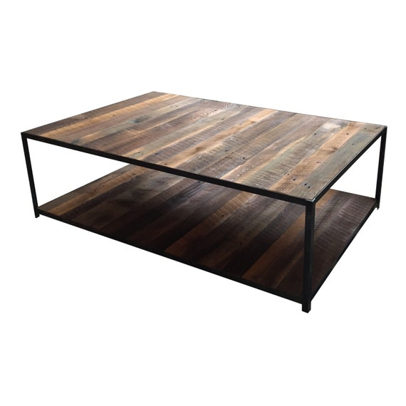 Reclaimed Barn Wood Steel Coffee Table