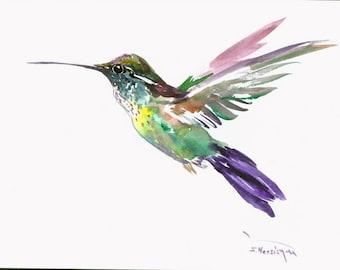 Flying HUmmingbird one of kind original painting 12 X 9 in