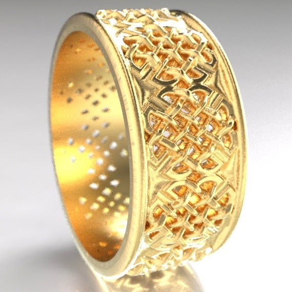 Gold Celtic Wedding Ring With Quaternary Knot-work Design in 10K 14K 18K or Palladium, Made in Your Size Cr-1047