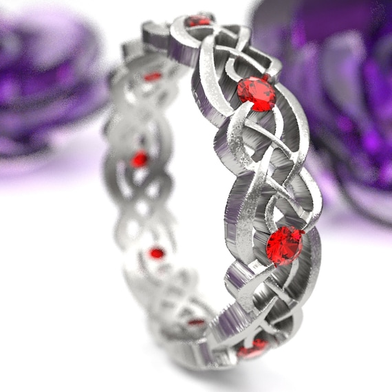 Ruby Eternity Ring, Celtic Infinity Band, Sterling Silver Wedding Band, Budget Wedding Ring, Woven Wedding Ring, Custom Size CR-1044