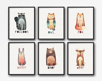 Printable Nursery Woodland Animal Art - Nursery Decor - Baby Shower Gift - Fox, Deer, Raccoon, Owl, Bunny, Bear - SKU:8554