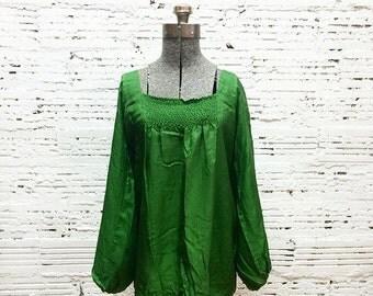 Emerald Green Blouse - Medium