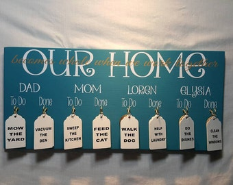 Chore Boards, Kids Chore Chart, Personalized Gifts, Personalized Family Chores, Gift Idea, Family Names, 10x20