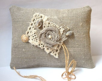 ON SALE Ring Bearer Pillow Wedding Ring Pillow Shabby Chic Wedding Ring Cushion Bridal Pillow Burlap Pillow Burlap Lace Pearl Linen Outdoor
