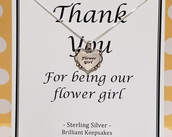 Flower Girl Thank You Gift Necklace Sterling Silver Fine Jewelry