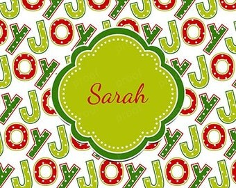 Christmas Joy Personalized Notebook or Notepad - Gift - Party Favor - Stocking Stuffer