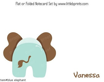 Blue Elephant Personalized Note cards Stationery Set of 10 flat or folded notecards