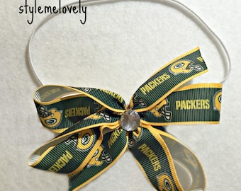 Green Bay Packers Baby Girl Boutique Bow Elastic Headband