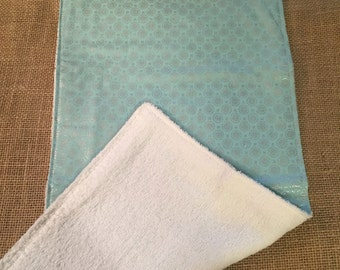 Light Teal and Silver Spots Burp Cloth
