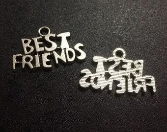 20pcs Best Friends Charms, 16x24mm Antique Silver Best Friends Charms Pendant
