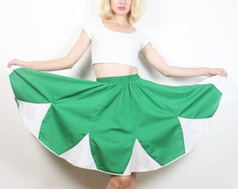 Vintage 70s Circle Skirt Kelly Green White Floral Petal Patch Square Dancing Skirt 1970s Country Western Full Sweep Mini S Small M Medium