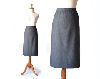 Pencil Skirt Charcoal Skirt Large Skirt Wool Skirt  Grey Wool Skirt  High Waist Skirt Gray Skirt  Women Bottom Skirt  Vintage Clothing Skirt