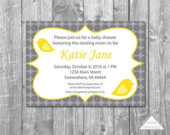 Yellow and Gray Bird Baby Shower Invitation, Polkadot Invitation, Printable Invitation, Digital File, PDF, JPEG