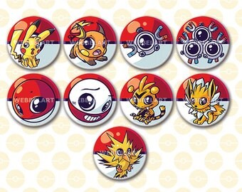 First generation Electric pokemon buttons 38mm