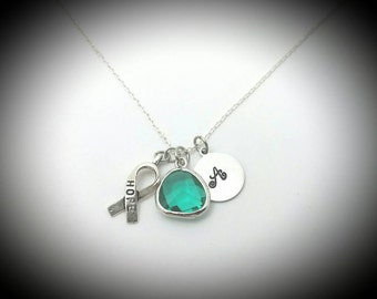 Ovarian cancer  necklace,Ovarian cancer awareness jewelry,Cancer of the ovary,Teal ribbon necklace,Teal cancer,Hope,Cervical cancer,Cancer
