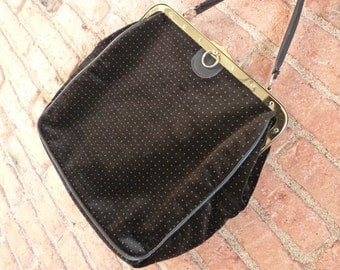 60s golden and black velvet dotted handbag