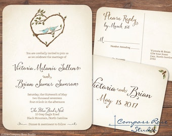 Bluebird Wedding Invitation, Rustic Wedding Invitations, Woodland Invites, Rustic Wedding, Illustrated Bluebird Wedding Invitations