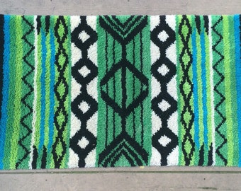 "Mid Century Tribal Pattern Latch Hook Rug, 47"""