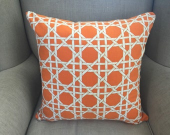 Large Cushion Cover/Pillow in Duralee Burnt Orange lattice Cushion Cover with an EST Linen Backing.