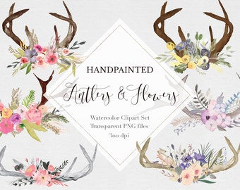 Watercolor Antlers & Flowers Clipart Files - High Res Transparent PNG - Hand Painted Digital Scrapbook elements - Instant download