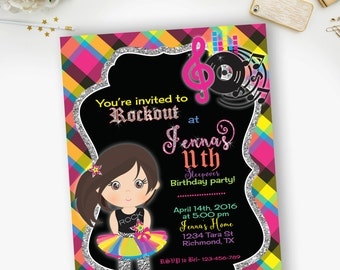 Girl Rock Star Birthday Invitation, Party Like a Rock Star Invites- YOU PRINT