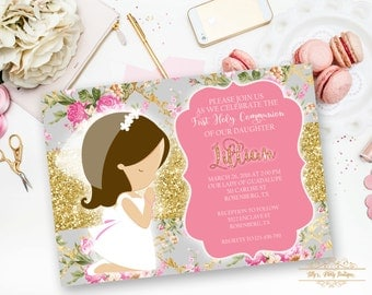 Girl First Holy Communion Invitation, Baptism, Religious Invites- YOU PRINT