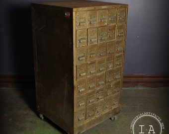 Vintage Industrial 35 Drawer Metal Rolling Parts Cabinet
