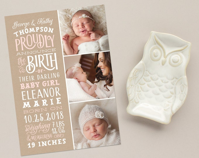 Hand Lettering Birth Announcement, Kraft Announcements with Three Photos, Multi Photo Birth Announcements | Darling