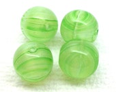 10 Vintage Green German Glass Beads Striped Round 10mm