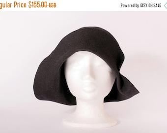 On sale Hat black women hat felt vintage style handmade hat asymmetrical brim hat