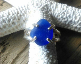 Cobalt sea glass & sterling silver ring// Size 7