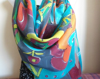 Waiting for spring -  unique chiffon silk scarf handmade painted  - MADE TO ORDER