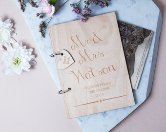Personalised Wooden Guest Book - Rustic Guest Book - Wedding Guest Book - Personalised Couples - Wooden Guest Book - Vintage Wedding
